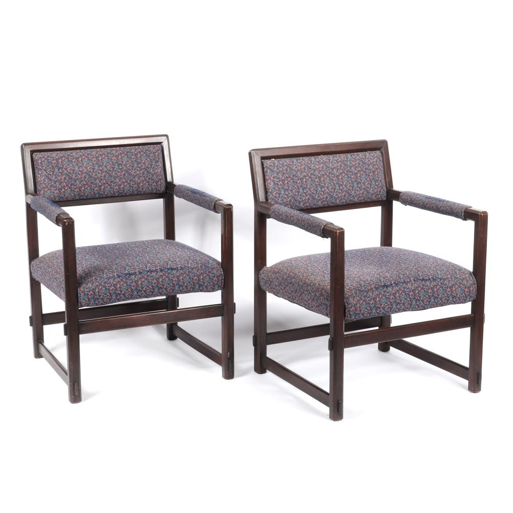 "Pair Edward Wormley for Dunbar open back dark walnut lounge / club / armchairs with upholstered seat and back and mortise and tenon detail. 32""H x 25""W x 25"" (depth)"