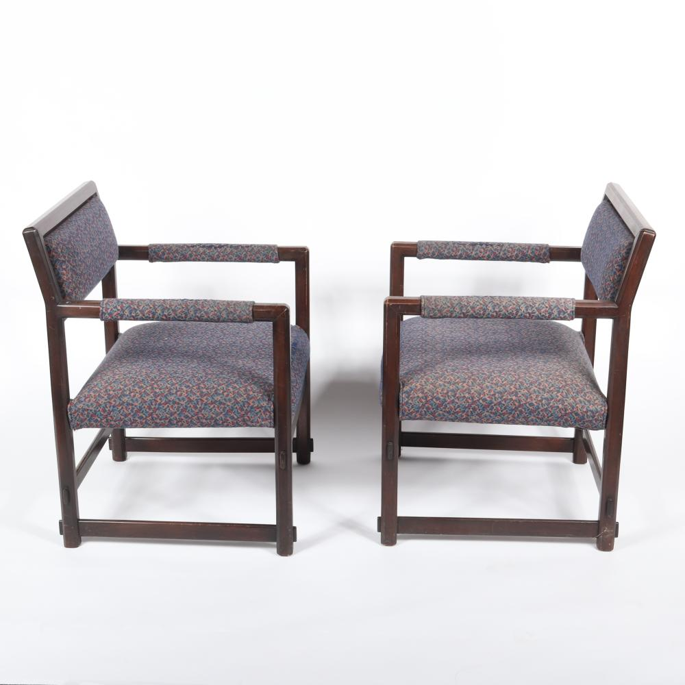 """Pair Edward Wormley for Dunbar open back dark walnut lounge / club / armchairs with upholstered seat and back and mortise and tenon detail. 32""""H x 25""""W x 25"""" (depth)"""