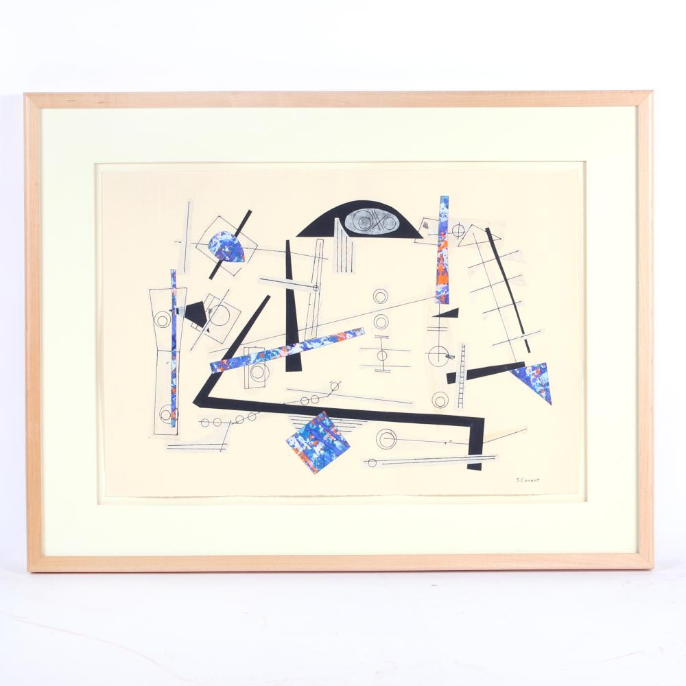 "Steven Conant, (American, 20th Century), Untitled, 1995, mixed media, collage, 16""H x 22""W (image) 22""H x 29""W (frame)"