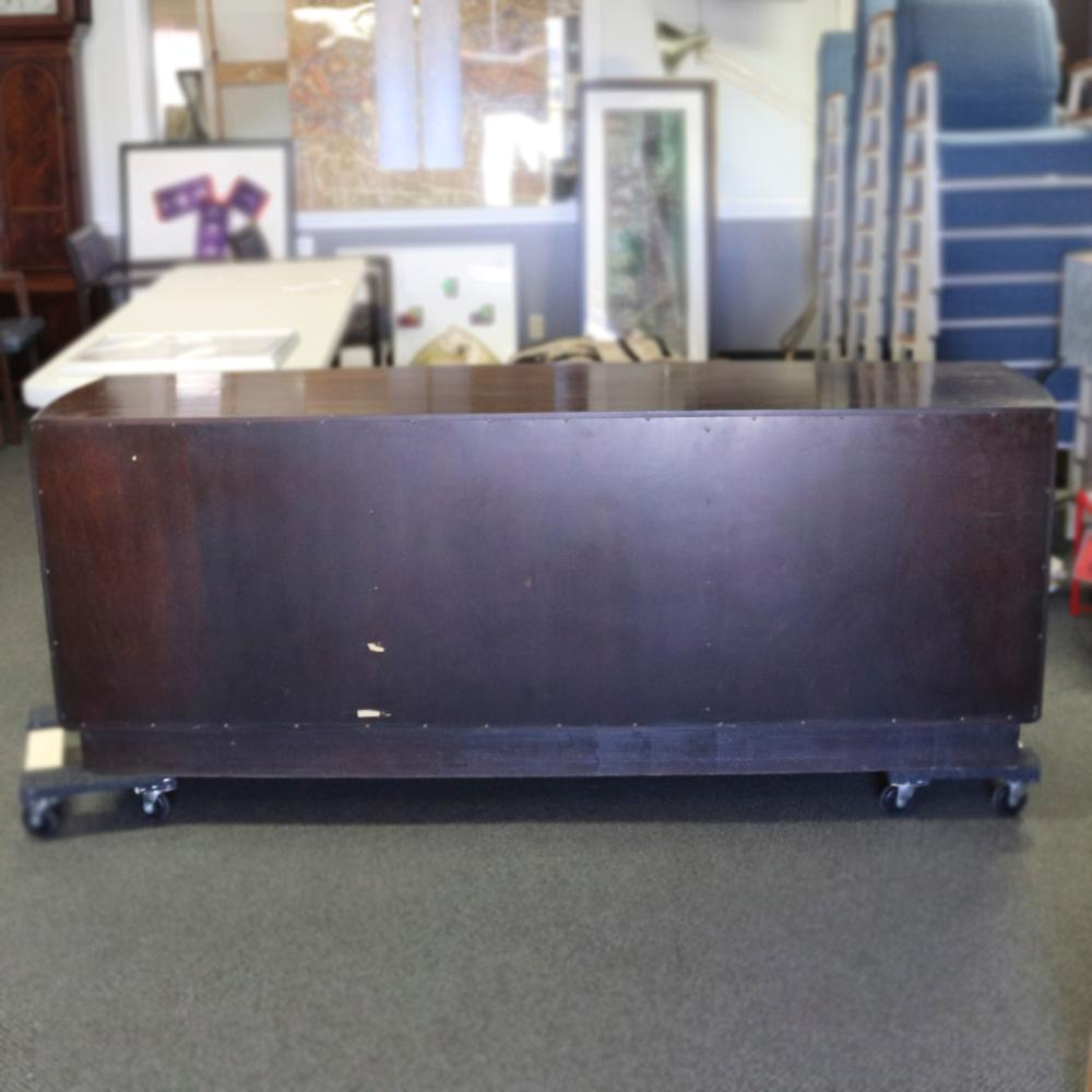 Edward Wormley for Dunbar rosewood breakfront / hutch, server. Lighted cabinet with 4 glass doors, smoky glass shelving, and two shallow drawers on top of a credenza / buffet with 3 sets of blind doors and 3 drawers, ...