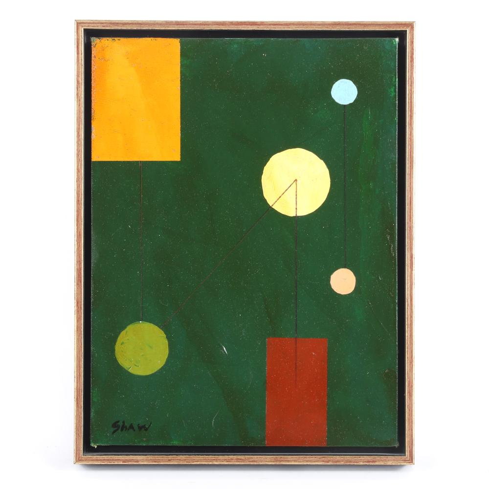 """Charles Green Shaw, (American, 1892 - 1974), untitled, ca. 1940s, oil on artist's board, 12""""H x 9""""W (image) 13""""H x 10""""W (frame)"""