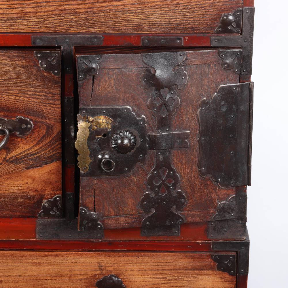 "Antique Japanese Meiji 19th Century two piece Tansu chest. 47""H x 45""W x 17 1/2"" (depth)"