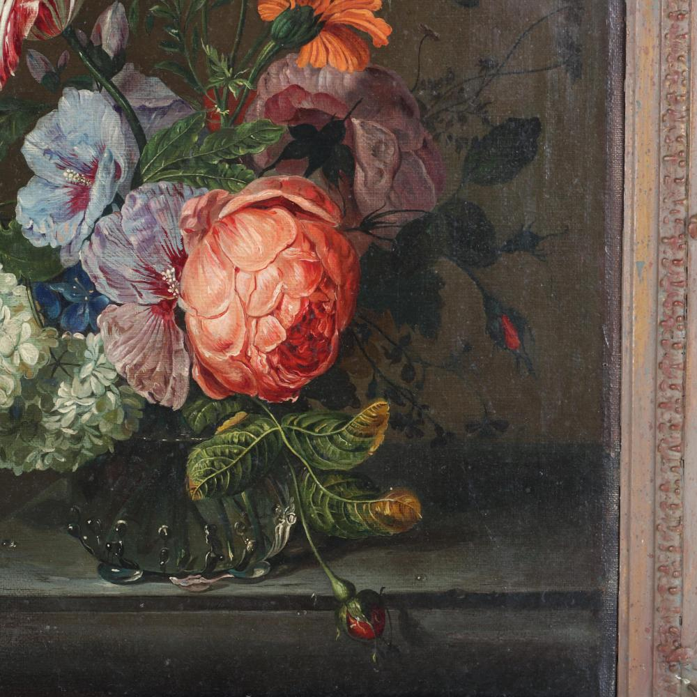 "Old Master Dutch School 19th Century floral still life with roses and tulip, oil on canvas stamped verso, Geo. Rowney & Co. London, ca.1850. 17 1/2""H x 14""W (image) 24""H x 21""W"