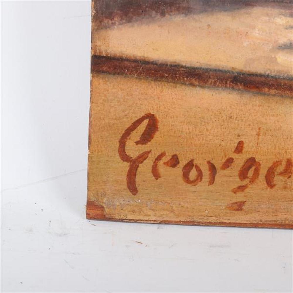 "George Luks, (American, 1867â€""1933), 'Hester Street', oil on paper on panel, 27.5"" W x 23.5"" H (frame) , 21.5"" W x 17.75"" H (panel)"