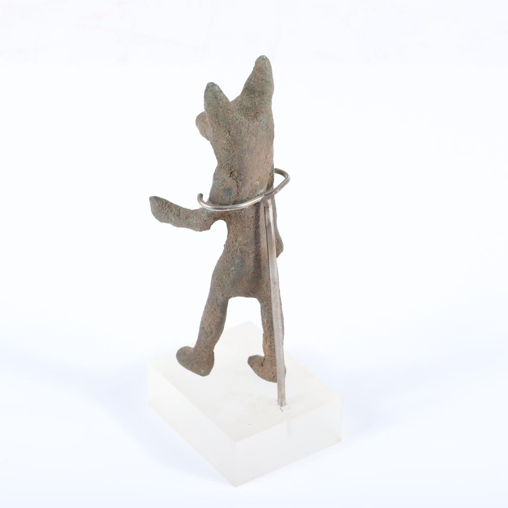 """Egyptian bronze funerary statue; relic / artifact possibly Late Kingdom 26th Dynasty depicting the jackal headed Anubis, God of death, mummification, embalming, the afterlife, tombs and the underworld. 4 1/2""""H (withou..."""