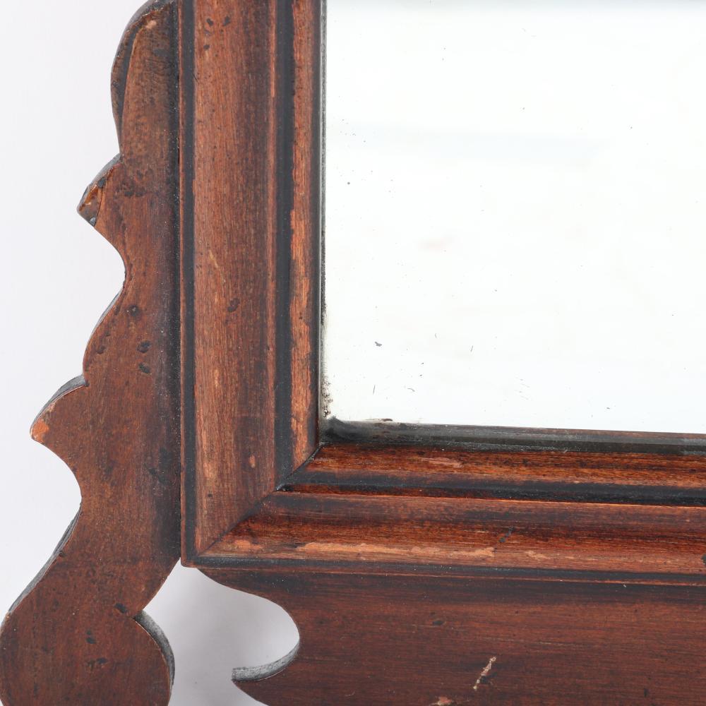 "Antique mahogany petite Georgian Chippendale mirror. 26 1/2""H x 14 3/4""W"