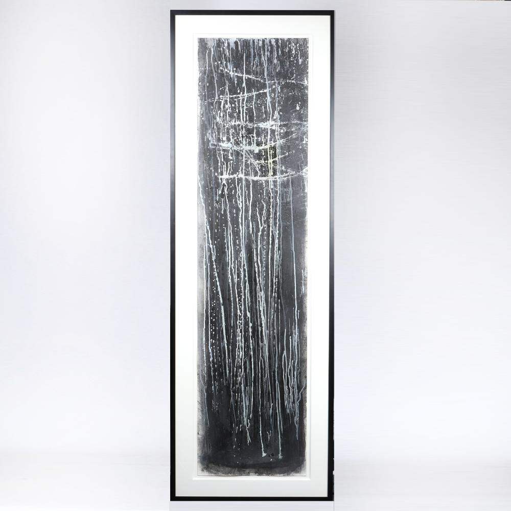 """Pat Steir, (American, b.1938/40), Winter Group '91 #VII, 1991, mixed media on paper, 67""""H x 17""""W (image) 75 1/2""""H x 25""""W (frame)"""