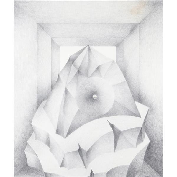 "Erwin Kalla, (Pennsylvania, 1935-2005), untitled, 1992, graphite / pencil on paper, 36""H x 3""W (sight), 41 1/2""H x 36""W (frame)"