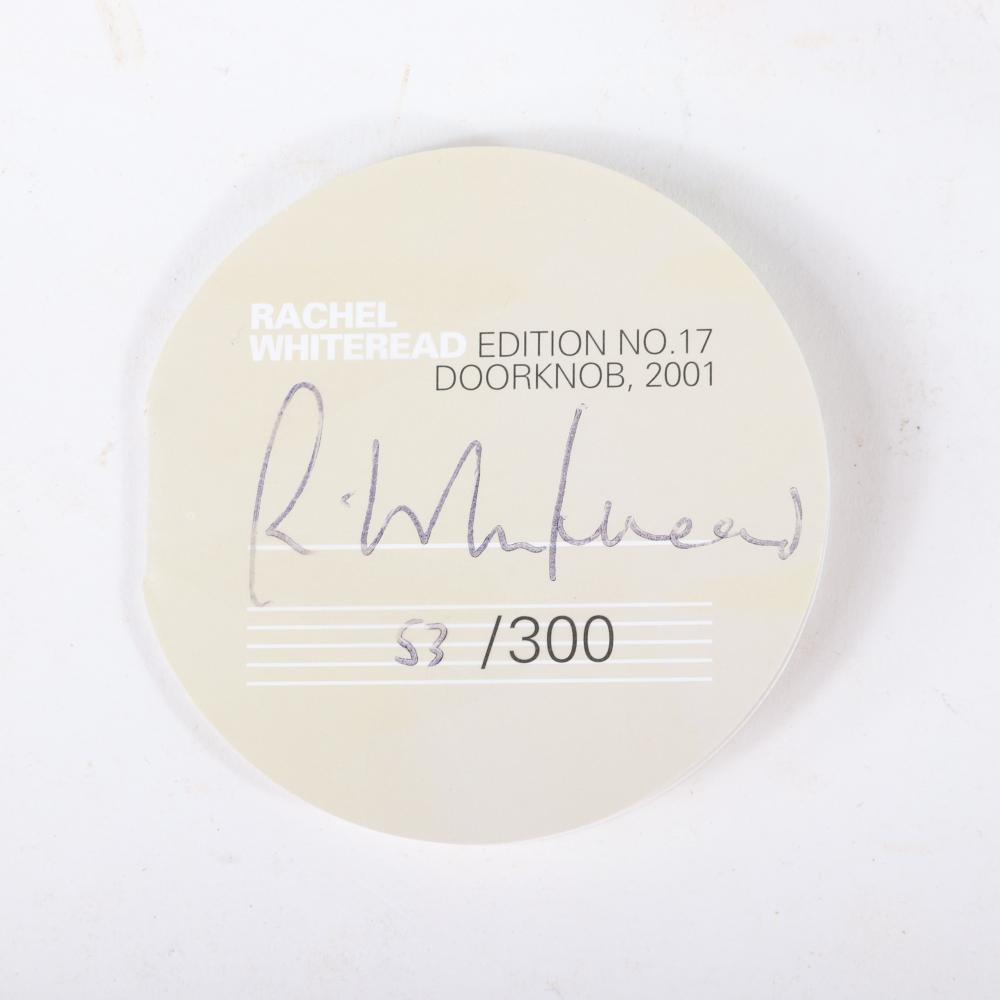 "Rachel Whiteread, (British, b.1963), Doorknob, 2001, Non-toxic, UV-resistant 'Technogel' sprayed with black Polyurethane film, in a Plexiglas box, Sculpture; 5"" x 2 1/2""."