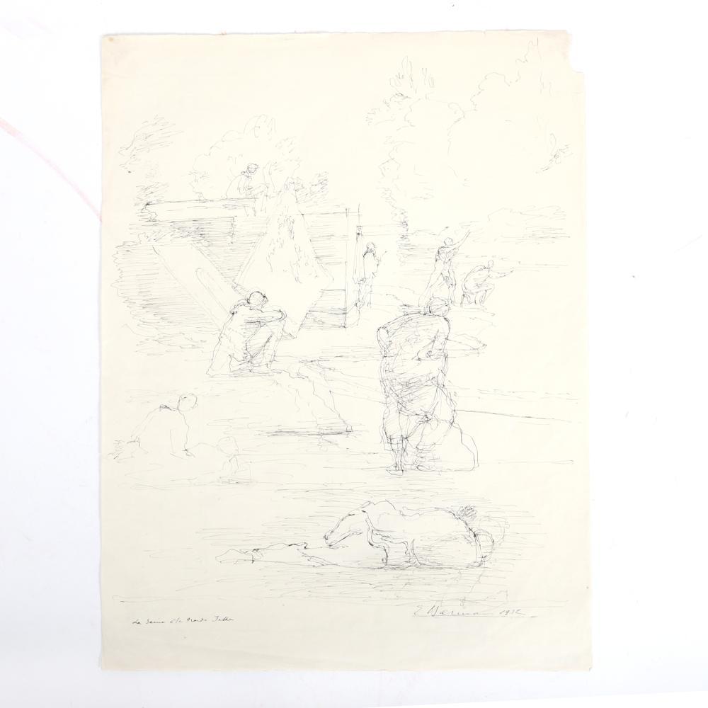 "Eugene Gustavovich Berman, (Russian, 1899-1972), TWO surrealist drawings / renderings / figure studies, 1930s, pen and ink on paper, 20 3/4""H x 16"" W (larger)"