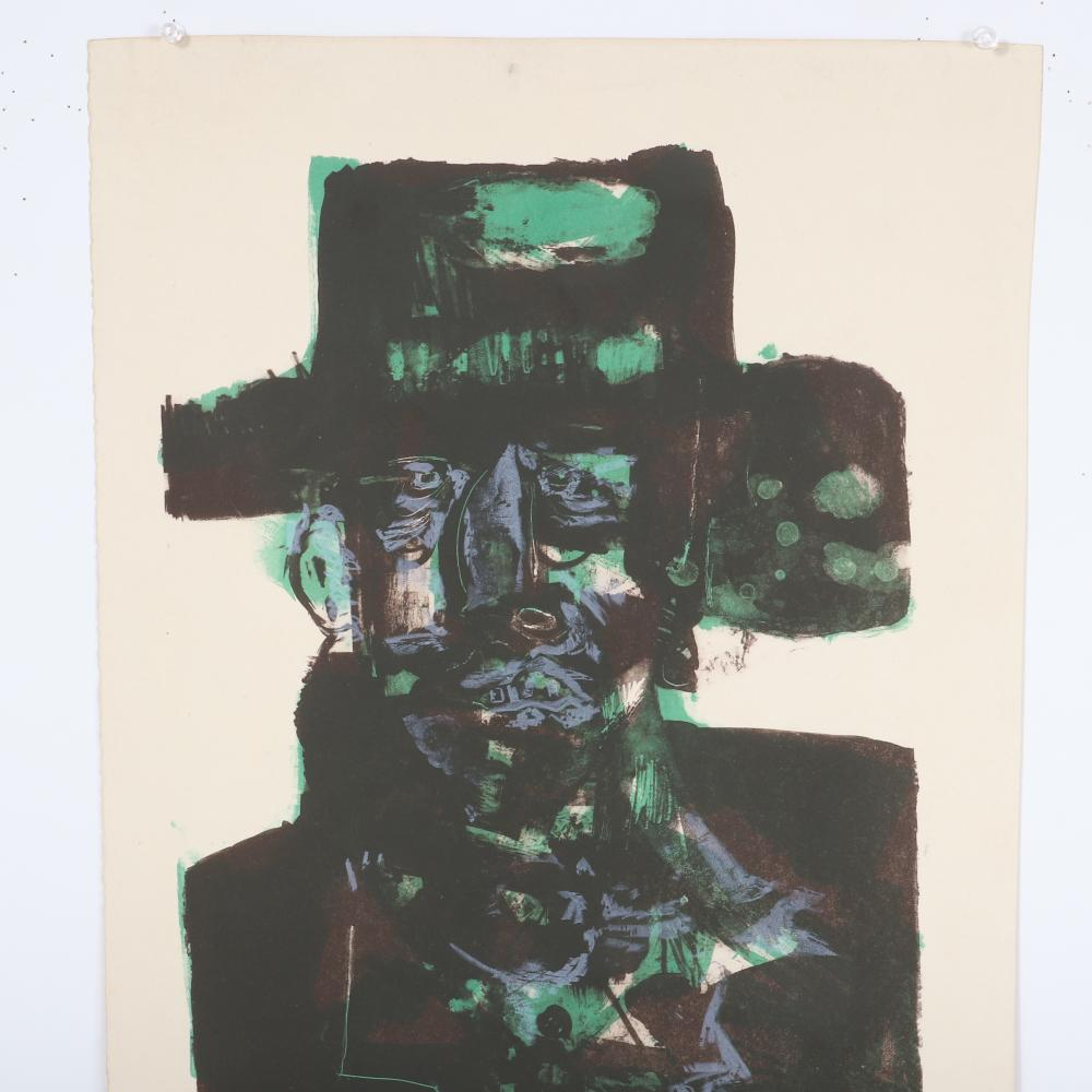 """Gerson August (Gus) Leiber, American 1921-2018, """"The Angry Prophet"""" 1966, lithograph, 22 3/4""""H x 15 1/4""""W"""