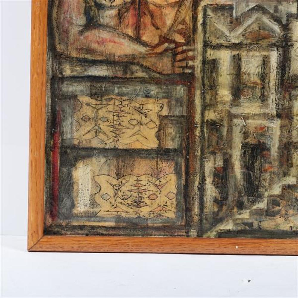 """Antonio Gonzalez Caballero, (Mexican, 1931-2003), Untitled figural abstract, oil, mixed media on canvas, 20""""H x 15 1/2""""W (sight), 21""""H x 17""""W (frame)"""