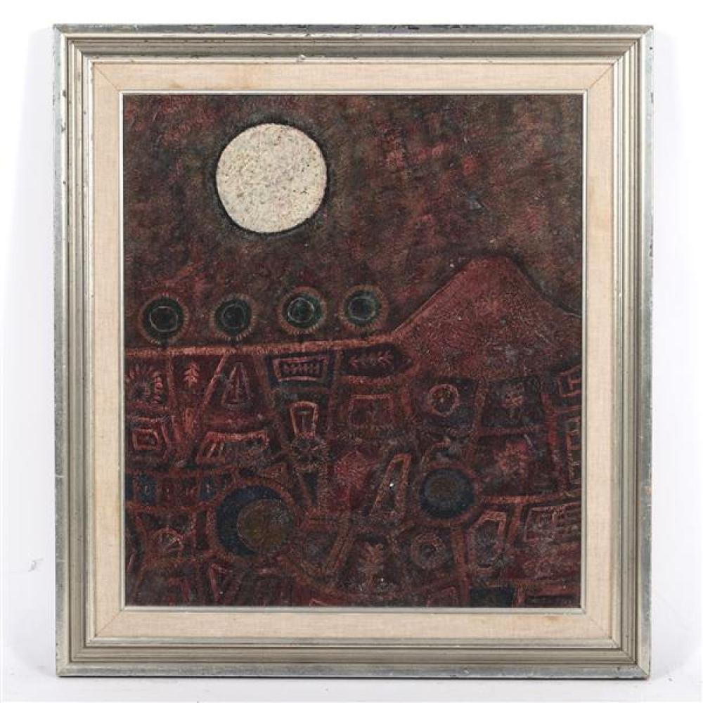 "John Christopherson, (United Kingdon, 1921-1996), Ring Around The Moon, oil on board, 17""H x 15 1/4""W (sight), 21 3/4""H x 19 3/4""W (frame)"