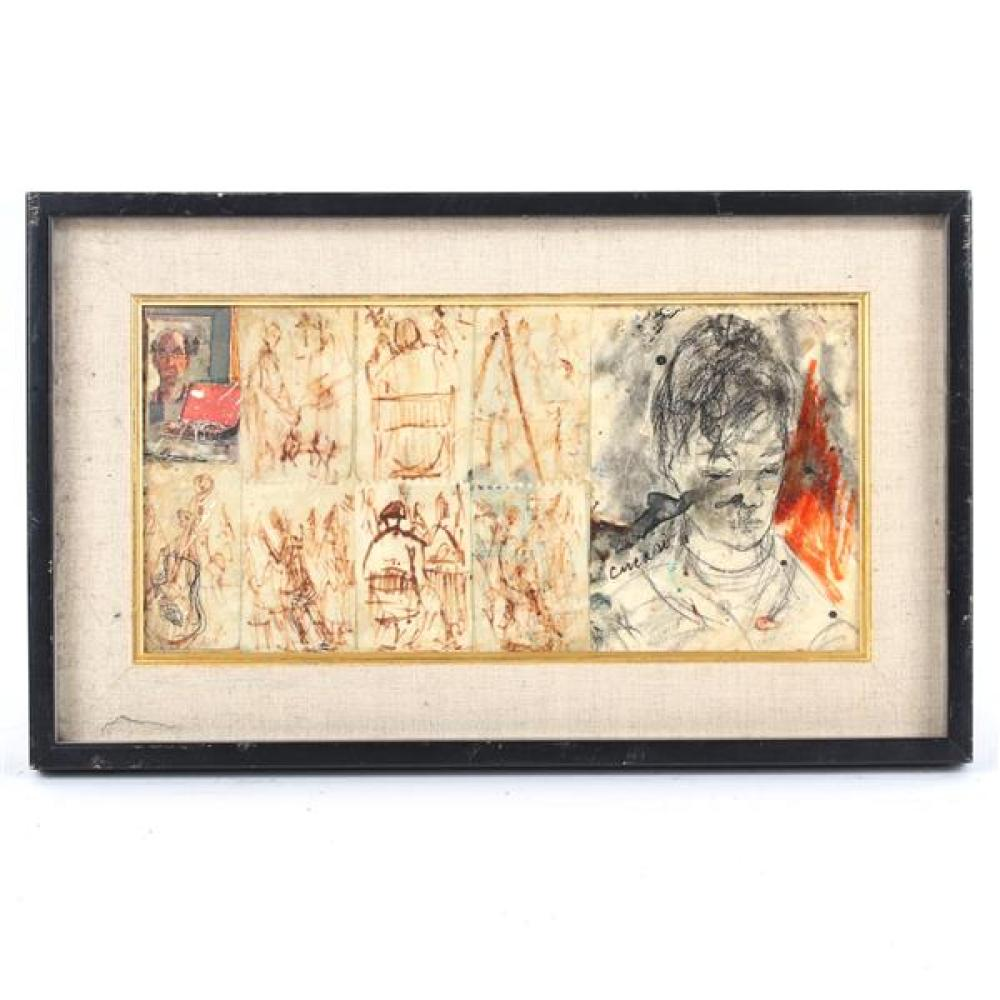 "Pascal Cucaro, (American, 1915-2004), figure study, mixed media, 7 1/2""H x 15 1/2""W (sight), 12 1/4""H x 20 1/4""W (frame)"