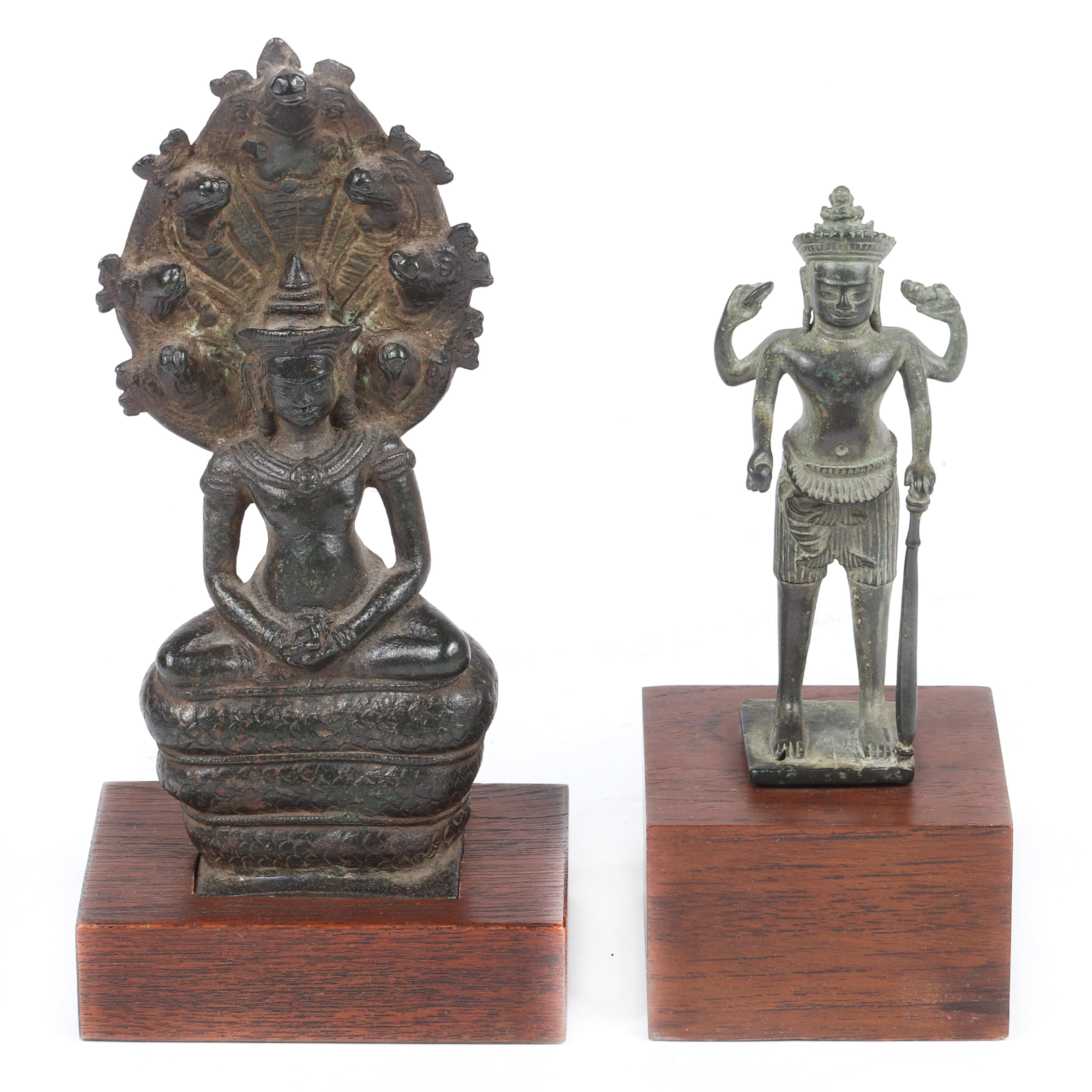 "Two Khmer style Southeast Asian copper alloy / bronze Hindu deity figures. 8 1/2""H x 3 1/2""W"