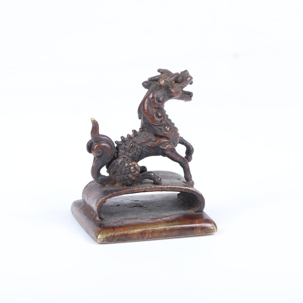 "Korean East Asian bronze Foo Dog dragon figural chop seal stamp. 2""H x 1 1/2""W"
