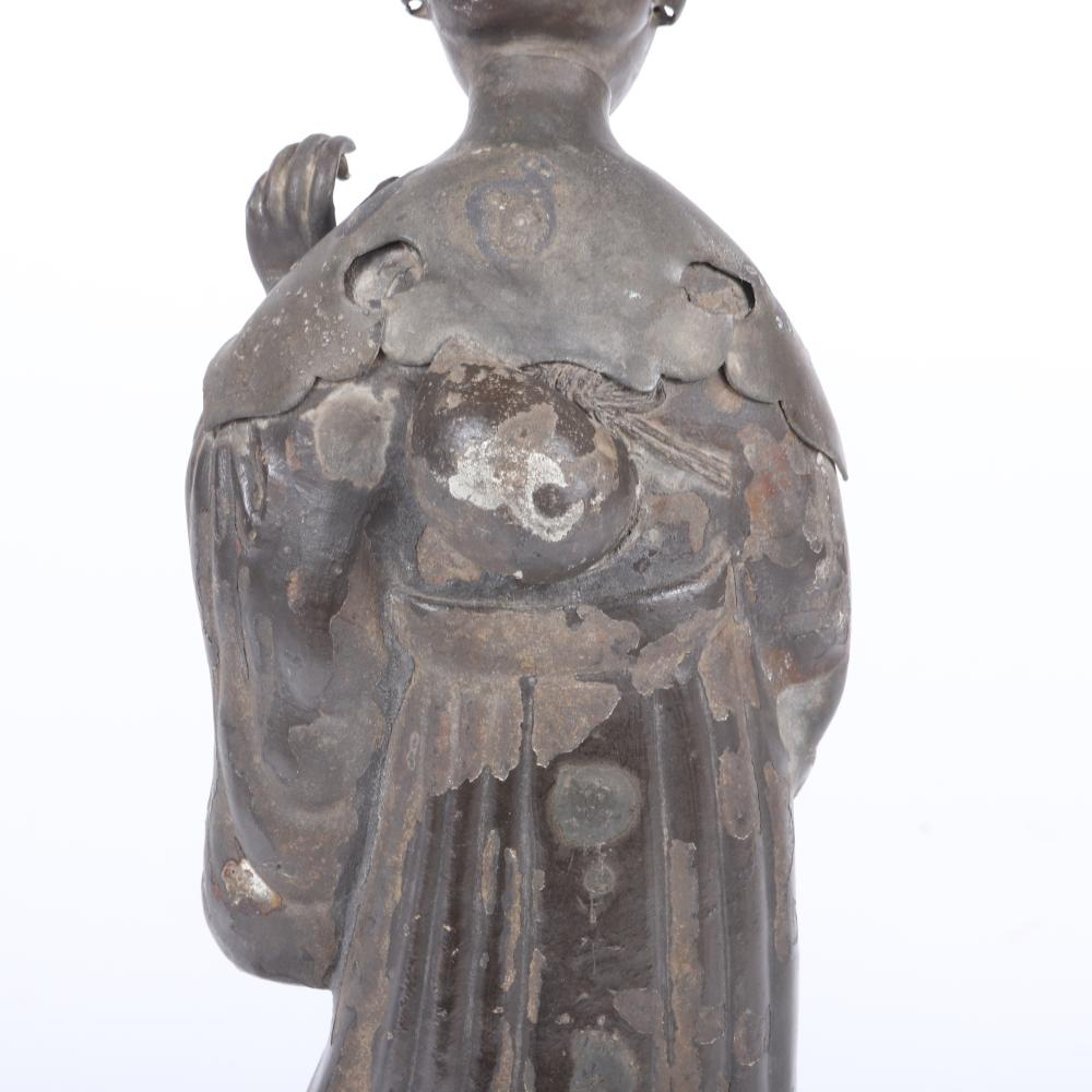 """Japanese bronze standing Kannon Buddhist figure. c.19th Century in layered robe and drapery with incised characters on the back, 14 1/2""""H x 6 1/4""""W"""