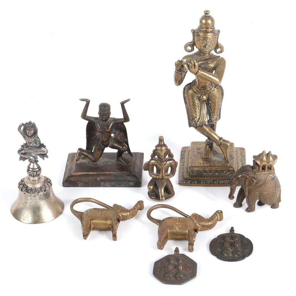 "Southeast Asian / Thai 9pc group: three bronze figural Hindu deity statues, bell, two charms, figural elephant, two brass elephant locks. 6""H x 2 3/4""W largest"
