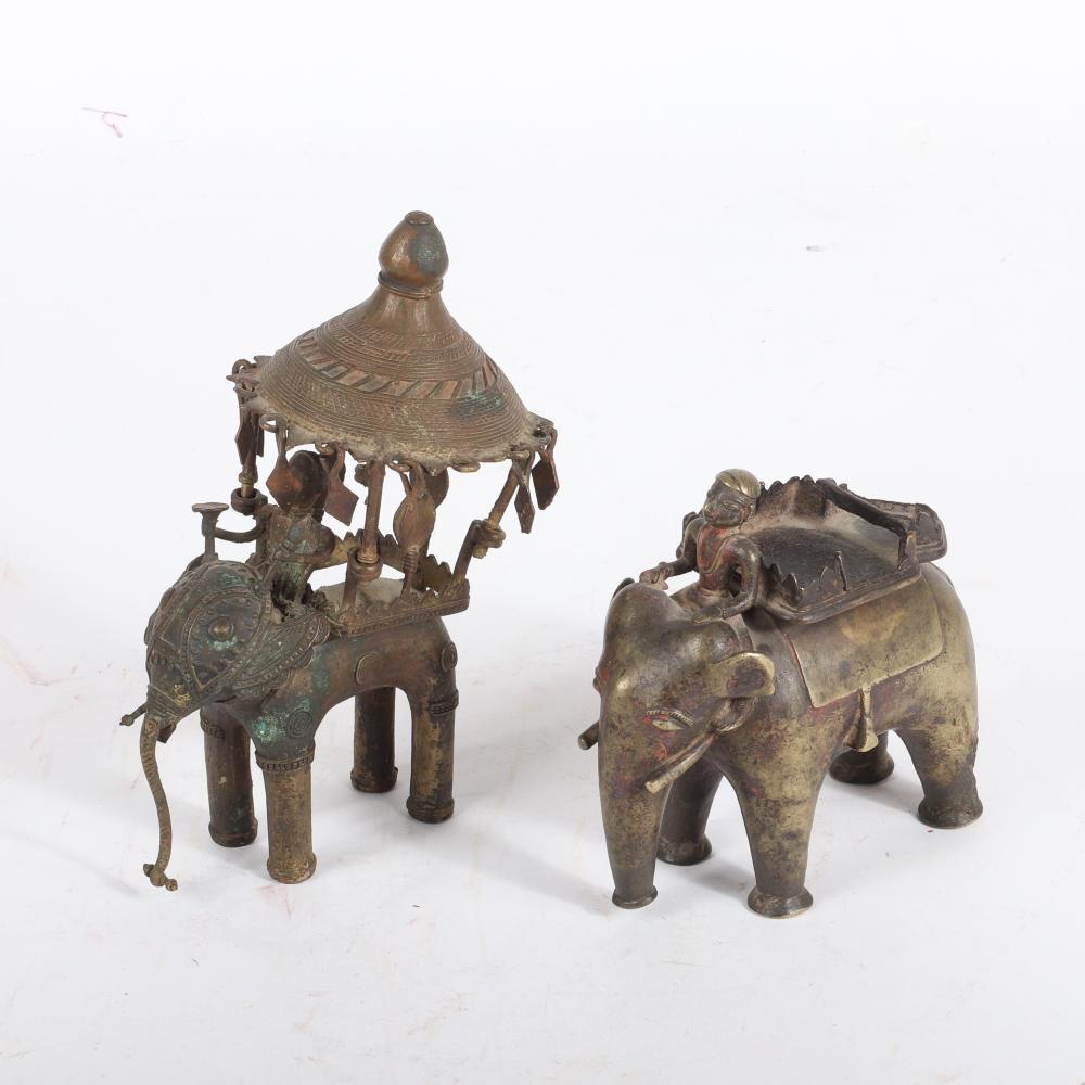 """Two bronze Southeast Asian / Indian elephant with rider figure groups: one with an umbrella howda with dangling diamonds. 7 1/2""""H x 6""""W"""