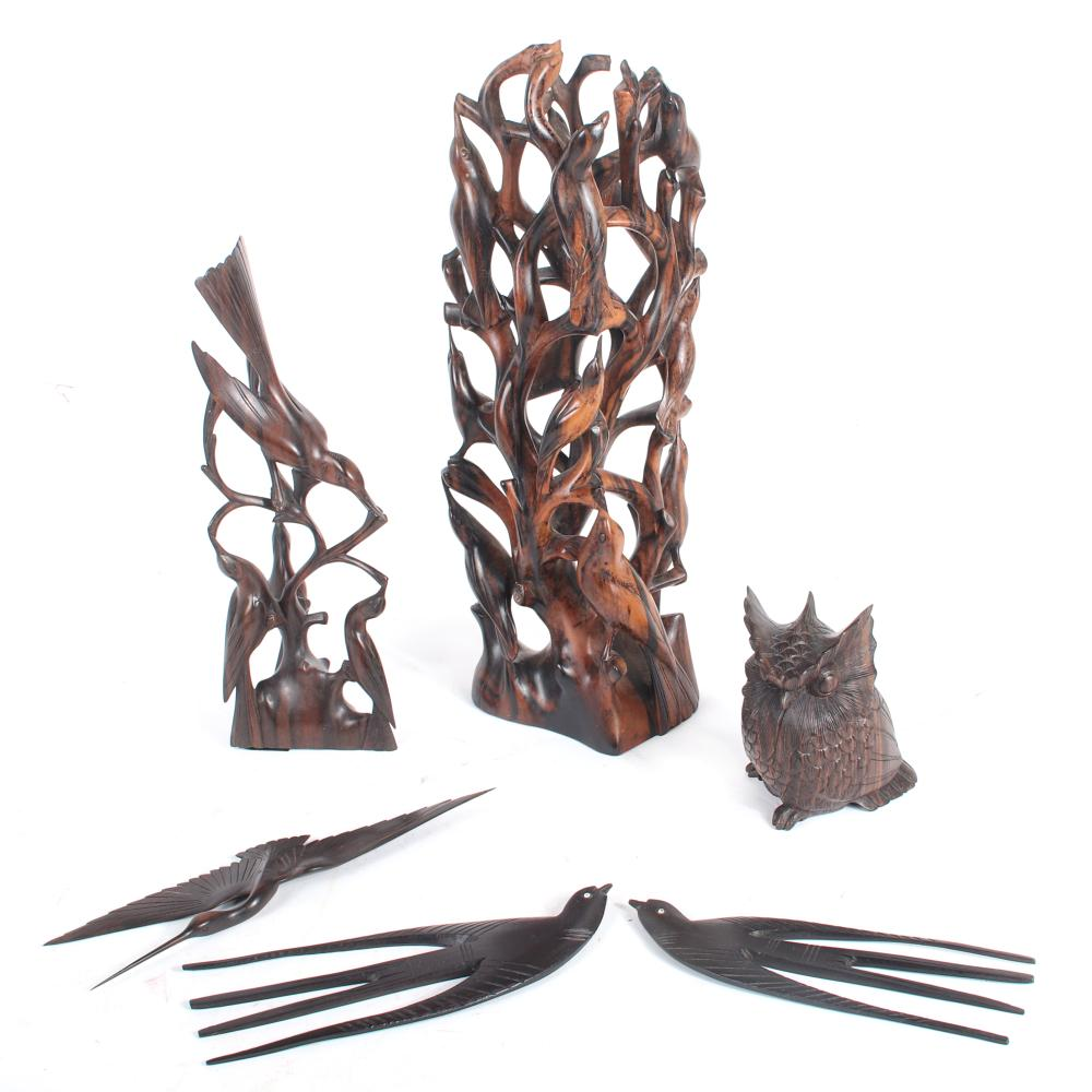 """Decorative Japanese bird carvings 6pc.; various exotic woods include owl figure, two bird on branch groups, and three bird in flight wall hanings. 13 1/2""""H x 4 3/4""""H (largest)"""