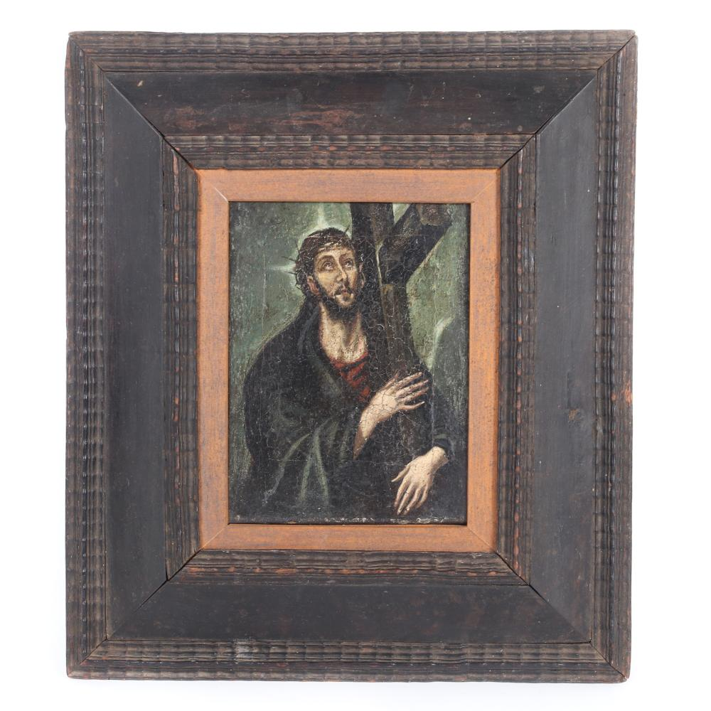 "Dominikos Theotokopoulos, known as El Greco, (Greece, Spain, 1541-1614), Italian School late 16th Century Christ Carrying the Cross, oil on canvas master painting, 8 1/2"" x 6 1/4""."