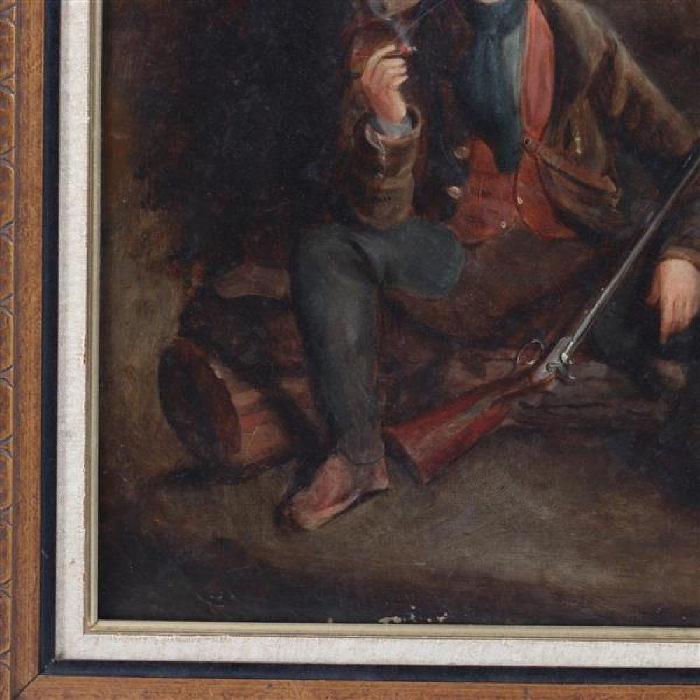 "Continental English school 18th Century Rococo portrait of a smoking hunter sportsman with rifle, signed and dated 1787. 23 1/2""H x 19""W (image), 29 1/2""H x 25 1/2""W (frame)"