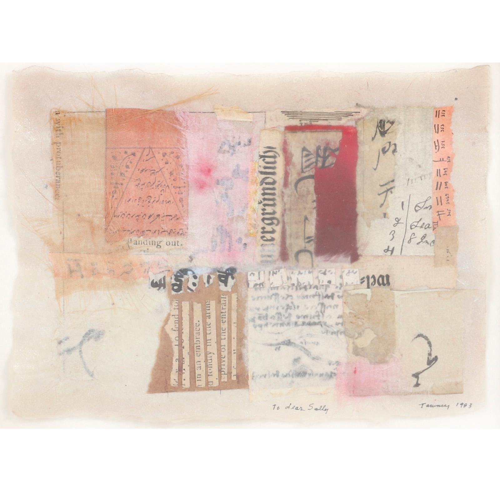 "Lenore Tawney, (American, 1907-2007), Untitled, (For Sally Fairweather), 1983, collage on rice paper, 5 1/2""H x 4 3/4""W (image) 6 1/2"" H x 8 3/8"" W (frame)"