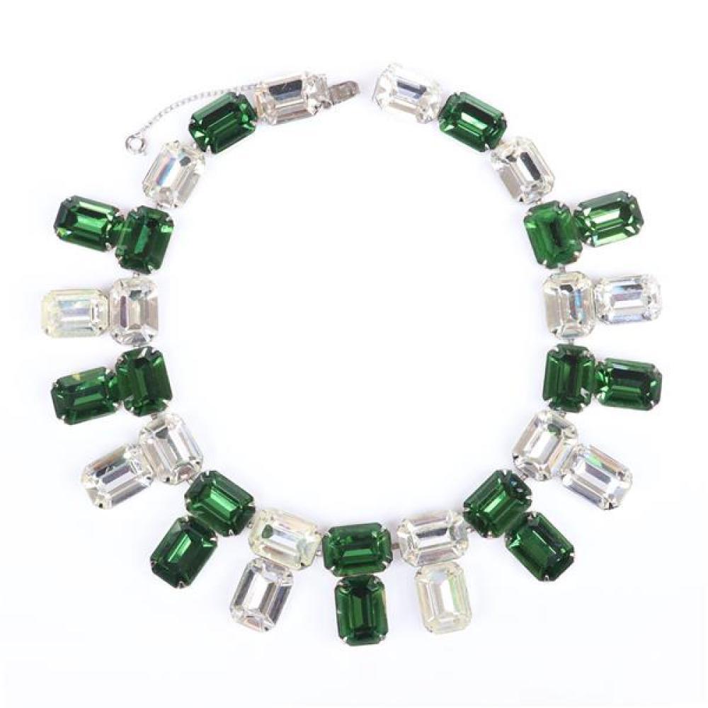 "Vintage 1950s statement collar necklace 1 1/4""H x 15""L"