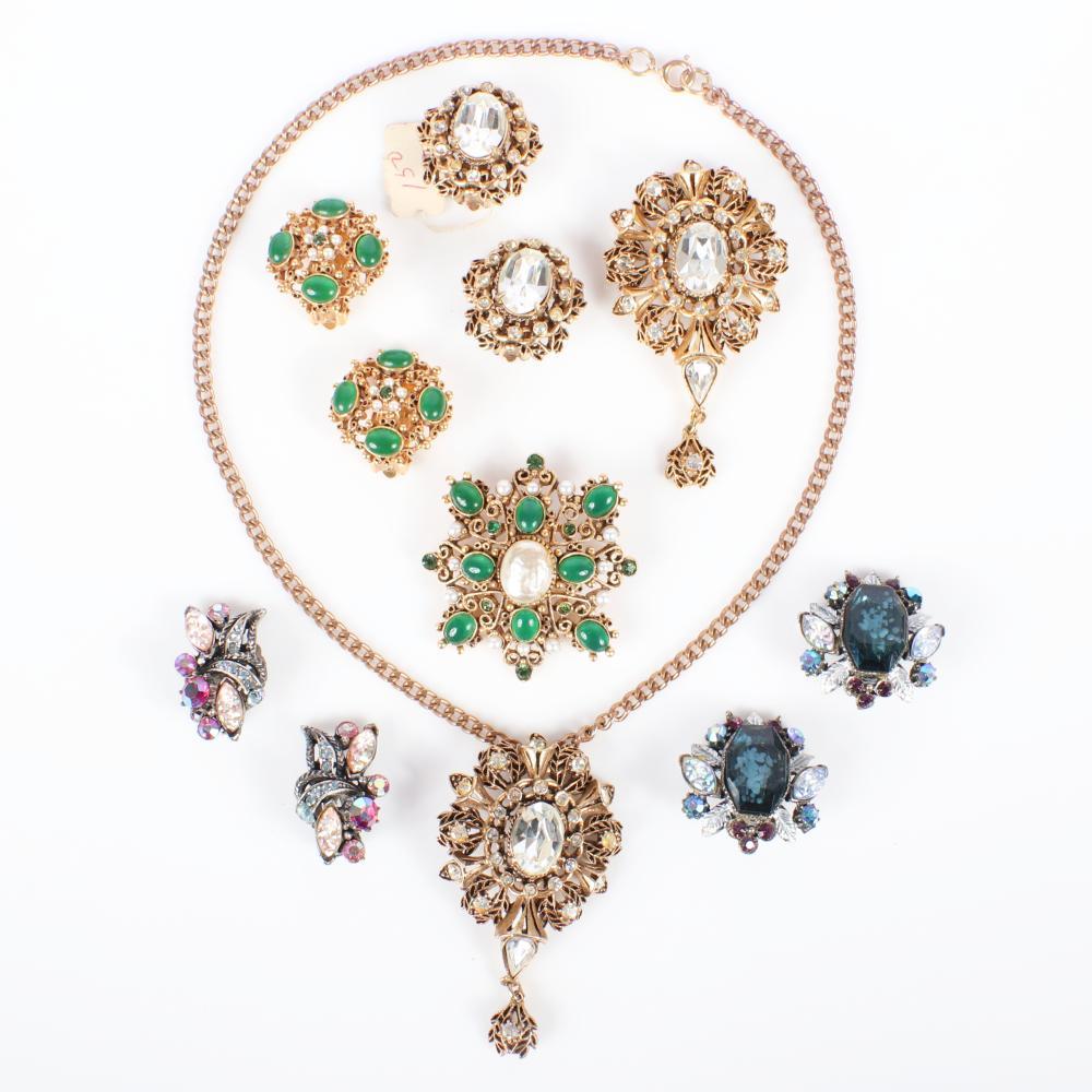 "Florenza 7-pc costume group: parure set, earring brooch set & Book piece earrings 16""L (necklace)"