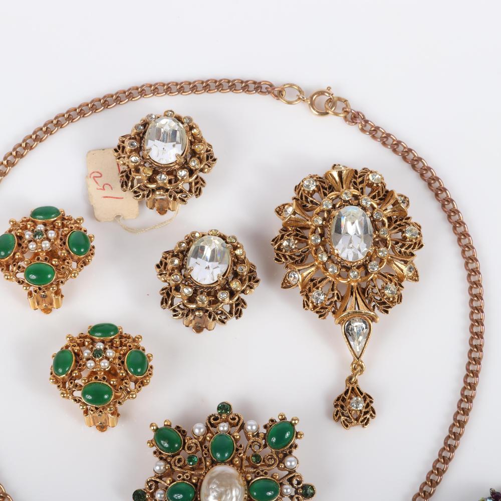 Florenza 7-pc costume group: parure set, earring brooch set & Book piece earrings 16