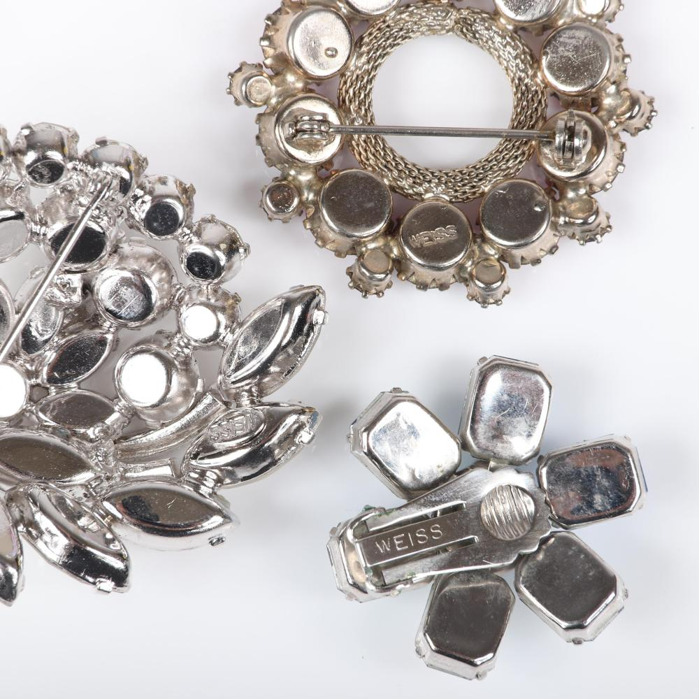 Weiss 19pc rhinestone and crystal 1950s sparkle costume jewelry group: 16'L (necklace)