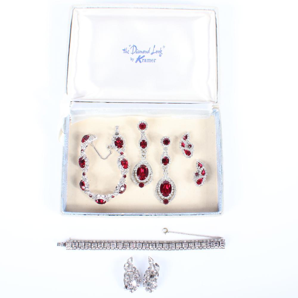 "Kramer of New York ""Diamond Look"" diamante & ruby crystal 5pc. 1960s group 7 1/2""L (ruby crystal bracelet)"