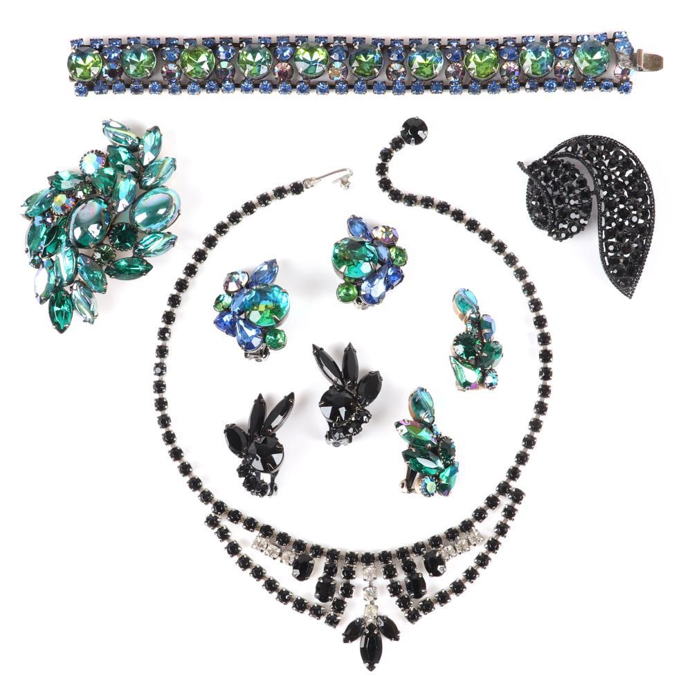 "Vintage 7pc Juliana, Kramer, Weiss, D & E Juliana designer group: 15""L (Weiss necklace), 7""L x 3/4""W (Kramer bracelet)"