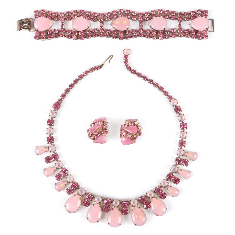 """Vintage 3pc pink parure with large 3/4""""H opalescent teardrop cabochons: 15""""L (necklace), 7 1/4""""L x 1 1/4""""W (bracelet)"""