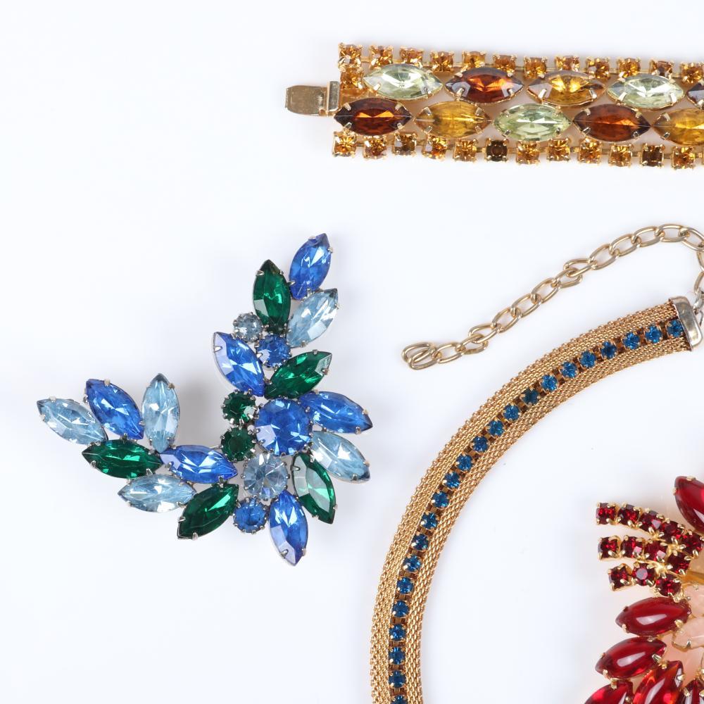 Vintage 5pc jewel tone rhinestone group: D & E Juliana gold tone mesh collar necklace adjustable 15