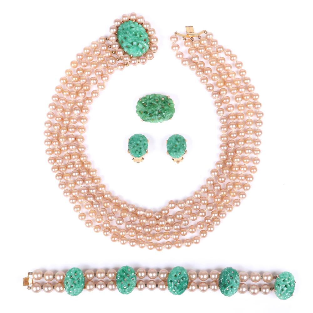 """Marvella 4pc carved pierced green jade Peking glass and faux pearl set: five strand necklace, bracelet, brooch and earrings. 15""""L (necklace)"""