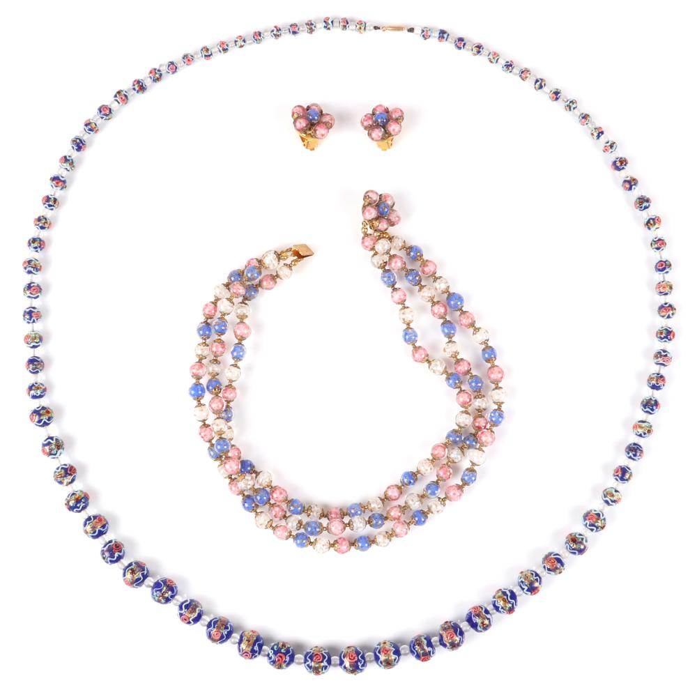 "Venetian glass 3pc group: 1930s Murano Wedding Cake blue graduated bead necklace 40""L (wedding cake)"