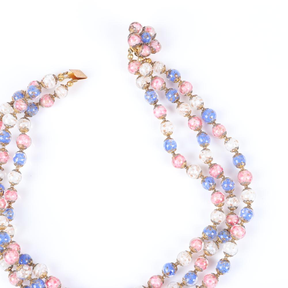 Venetian glass 3pc group: 1930s Murano Wedding Cake blue graduated bead necklace 40