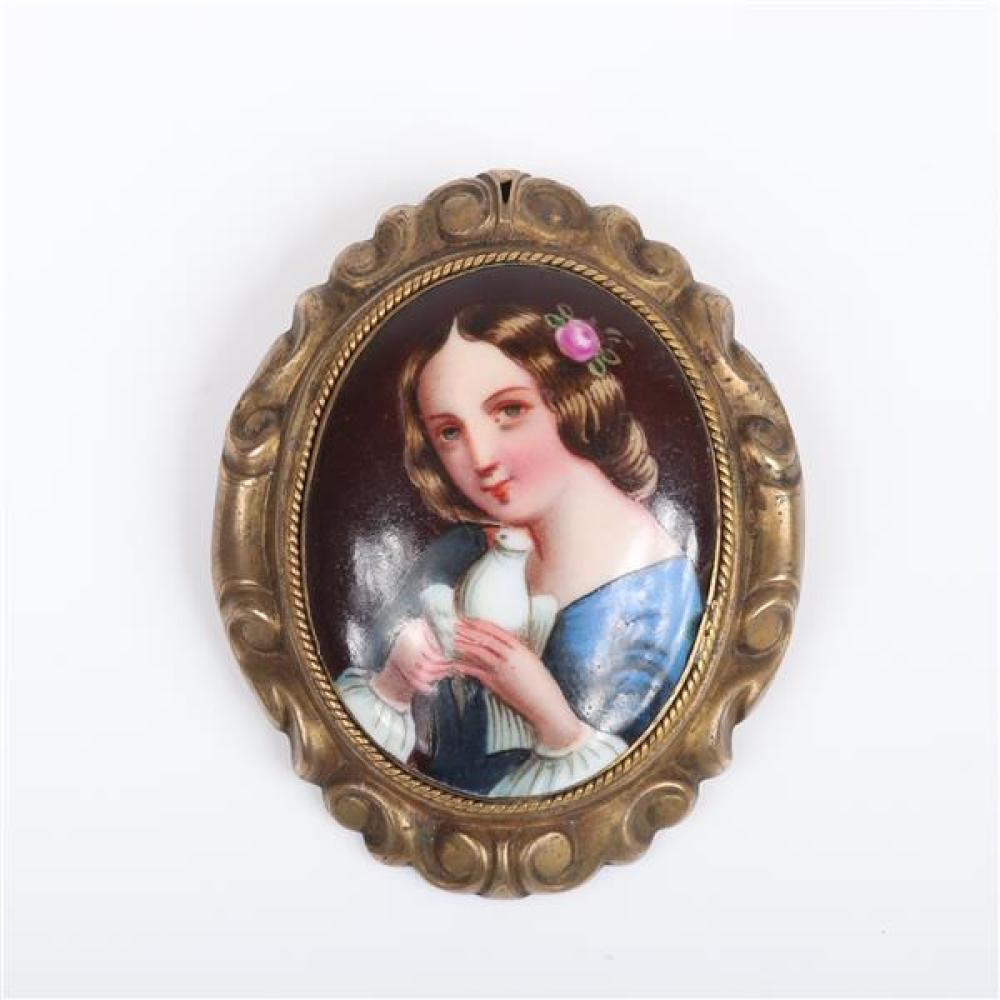 Three antique Victorian / Art Nouveau / Deco pins; hand painted porcelain plaque miniature Romantic portrait, Girl with Dove, and 2...
