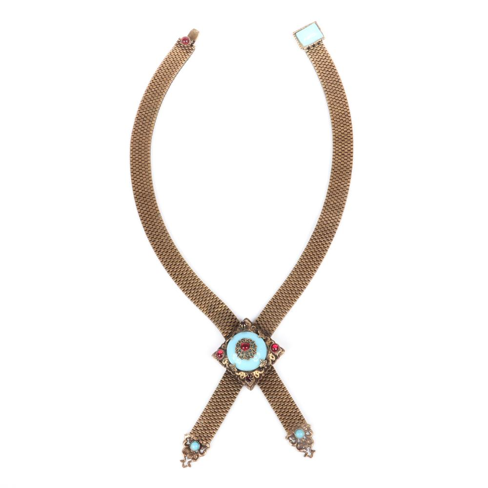 """Edwardian wide mesh crossover necklace with ruby crystal and turquoise glass cabochons. 17""""L (necklace)"""