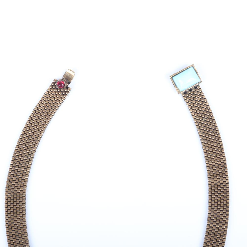 Edwardian wide mesh crossover necklace with ruby crystal and turquoise glass cabochons. 17