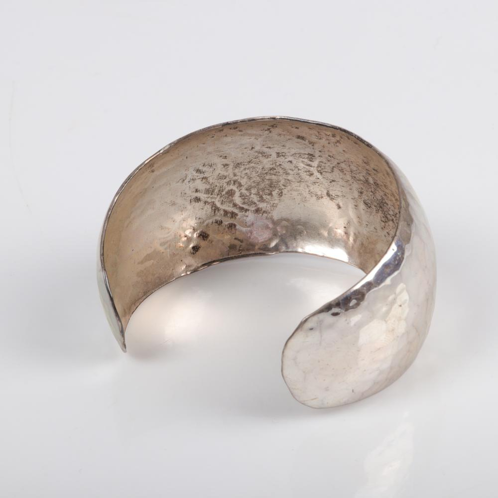 STERLING SILVER timeless hand hammered domed cuff bracelet, marked 925. 2 1/4