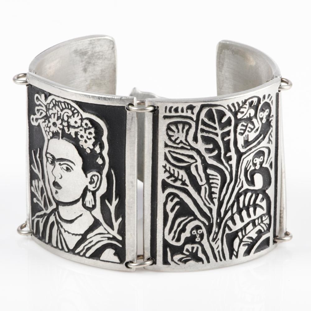 "Vintage artisan Alice Seely 2009 Frida Kahlo inspired linked carved shadowbox pewter panel cuff bracelet. 7 1/2""L x 1 7/8""W"
