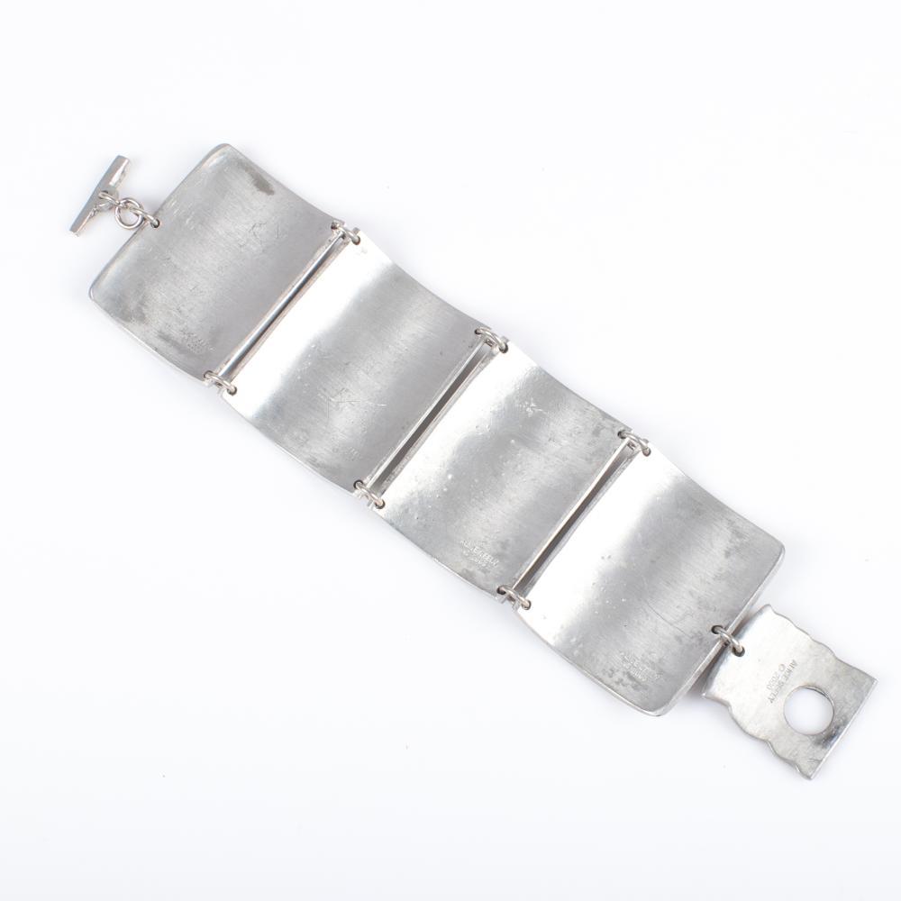 Vintage artisan Alice Seely 2009 Frida Kahlo inspired linked carved shadowbox pewter panel cuff bracelet. 7 1/2
