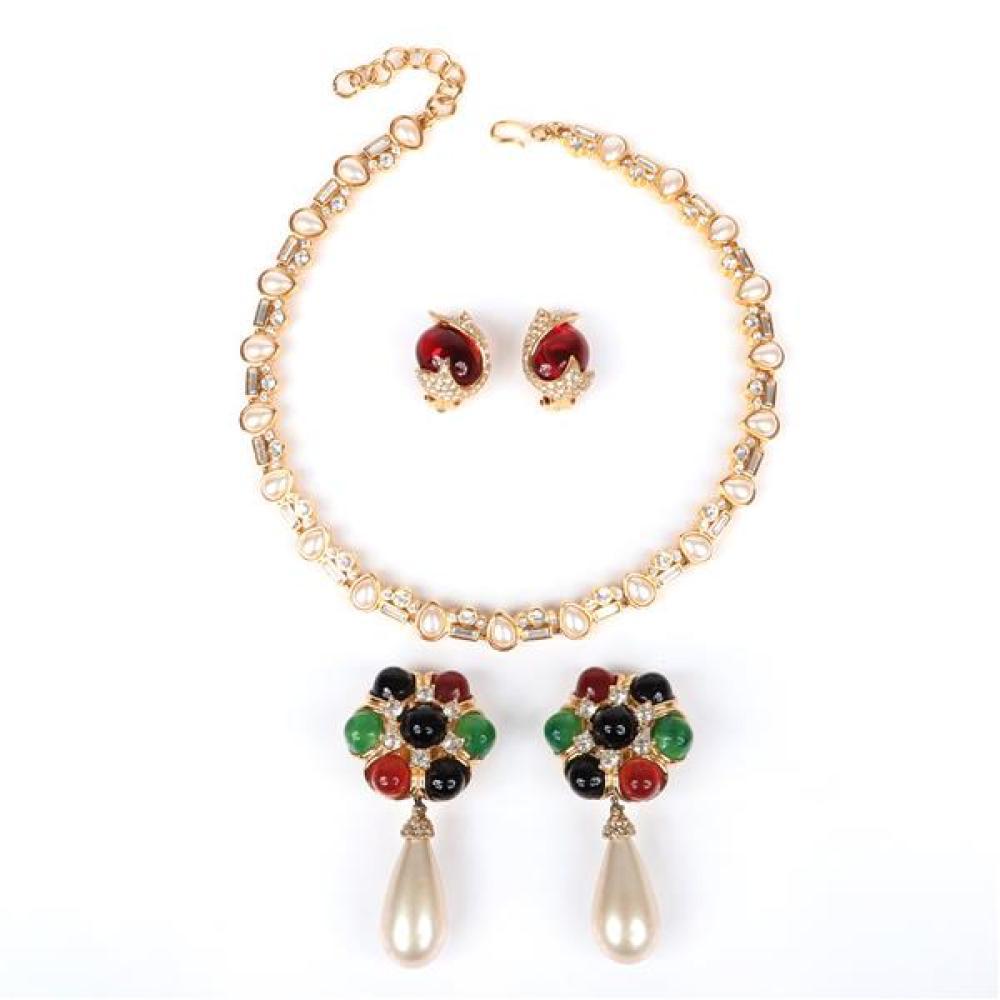 "Vintage costume jewelry 3pc.; 2pr Ciner earrings, 17""L"