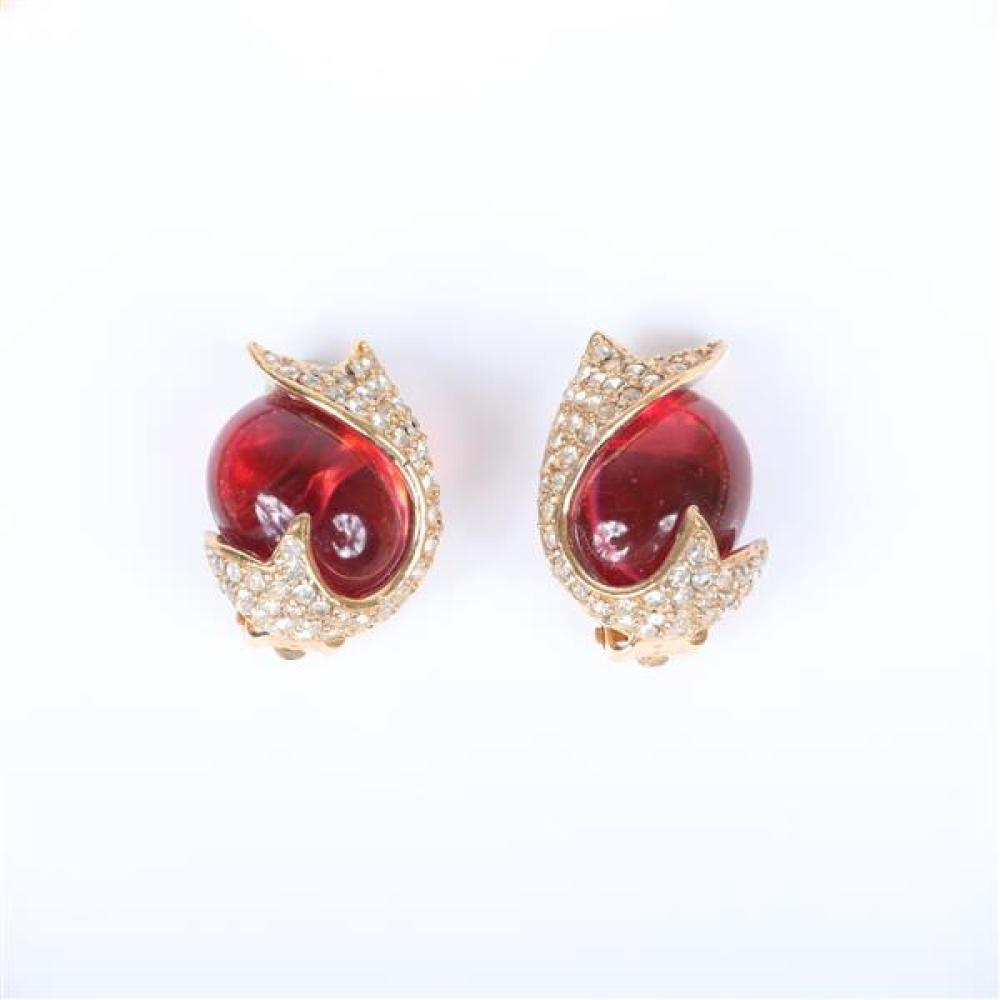 Vintage costume jewelry 3pc.; 2pr Ciner earrings, 17
