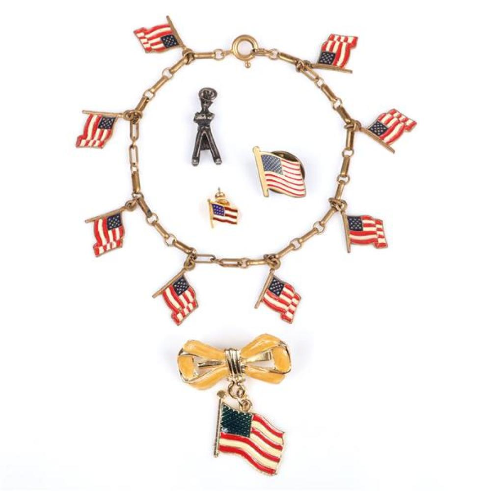 Vintage Patriotic American Flag & WWII jewelry 5pc; enamel bow pin with dangling Flag, charm bracelet, two flag tacks and a figural...