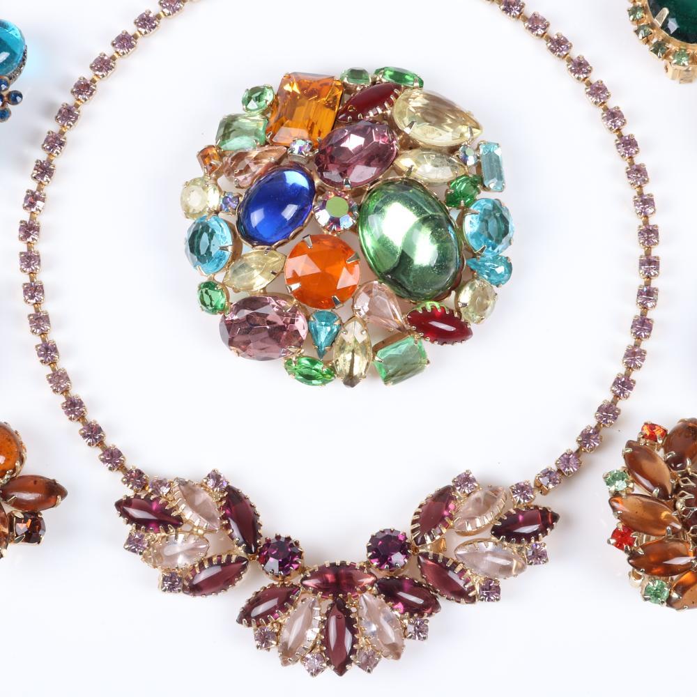 Vintage 6pc multi-stone jewel tone group: two pairs of D & E Juliana earrings, 2 1/2