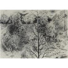"""Harry Davis, (American / Indiana, 1914-2006), """"Treescape XV"""", 1963, gouache / ink wash on paper, 10""""H x 14""""W (sight), 20""""H x 24 1/4""""..."""