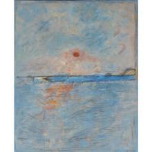 "Robert Knipschild, (American, 1927-2004), ""Land's End II"", 1981, oil on canvas, 22""H x 18""W (sight), 24 1/2""H x 20 1/2""W (frame)"